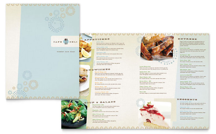 Cafe Deli Menu Template - Word & Publisher