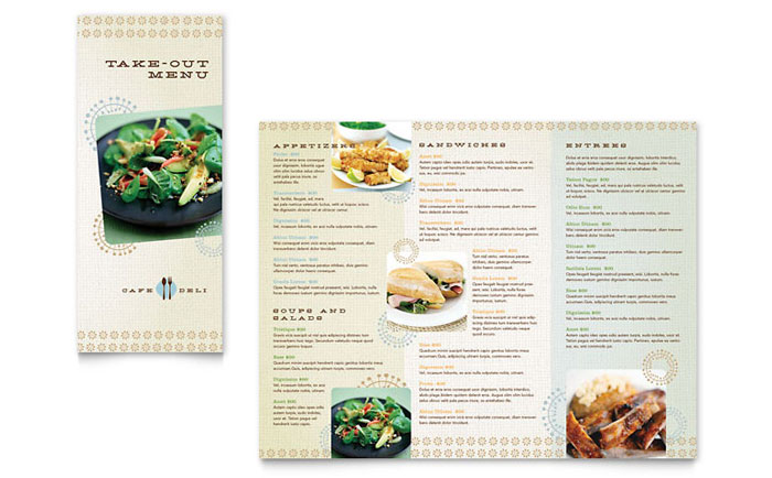 Cafe Deli Takeout Brochure Template Word Publisher - Menu brochure template