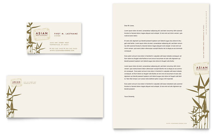 Asian Restaurant Business Card & Letterhead Template - Word & Publisher