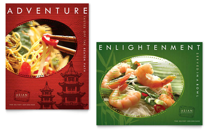 Asian Restaurant Poster Template - Word & Publisher