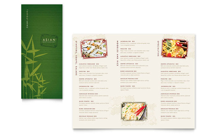 Asian Restaurant Takeout Brochure Template Word Publisher - Menu brochure template