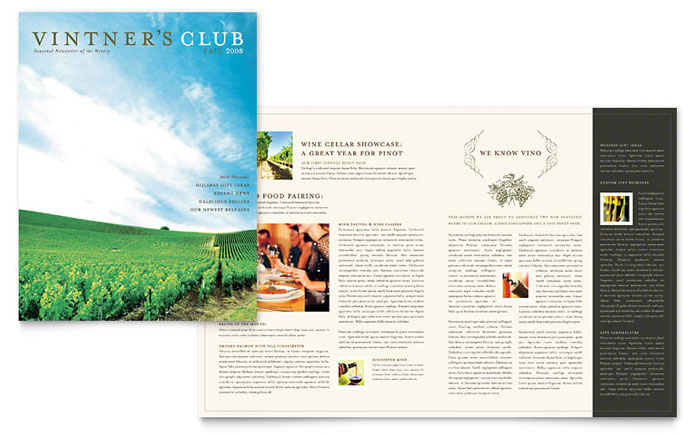 Vineyard & Winery Newsletter Template - Word & Publisher