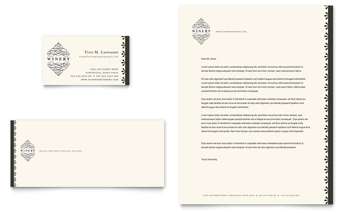 Vineyard & Winery Business Card & Letterhead Template - Word & Publisher
