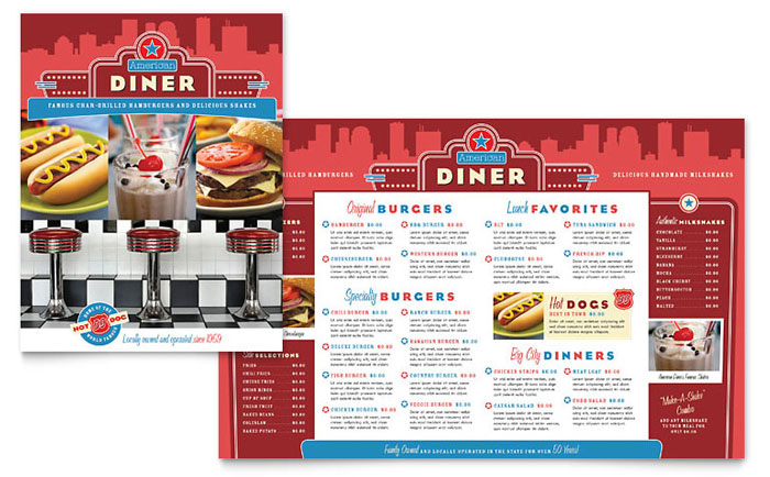 American diner restaurant menu template word publisher for Microsoft publisher menu templates free