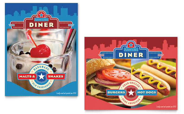 American Diner Restaurant Poster Template - Word & Publisher