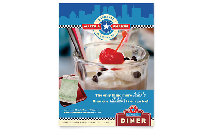 American Diner Restaurant Flyer Template - Word & Publisher