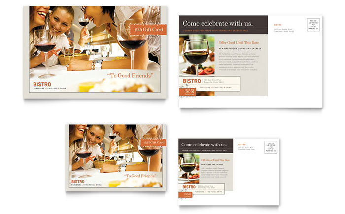 Bistro & Bar Postcard Template Download - Word & Publisher - Microsoft Office