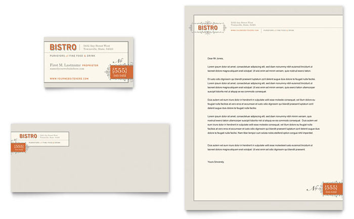 Bistro & Bar Business Card & Letterhead Template - Word & Publisher