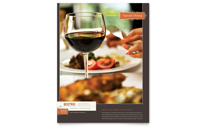 Bistro & Bar Flyer Template Download - Word & Publisher - Microsoft Office