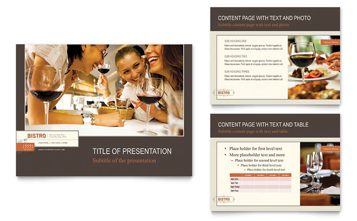 Bistro & Bar PowerPoint Presentation Template - PowerPoint