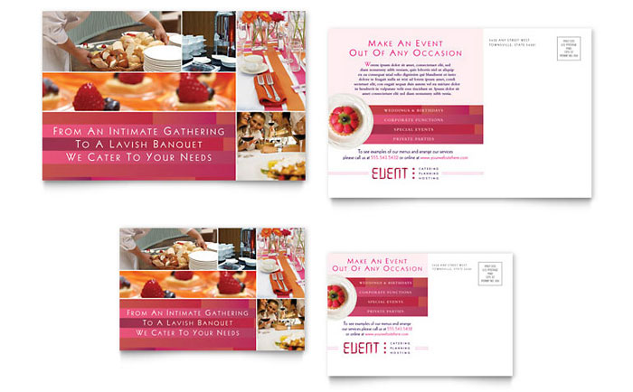 Corporate event planner caterer postcard template word publisher cheaphphosting