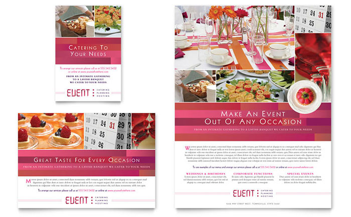Corporate Event Planner U0026 Caterer Flyer U0026 Ad Template   Word U0026 Publisher  Event Flyer Template Word