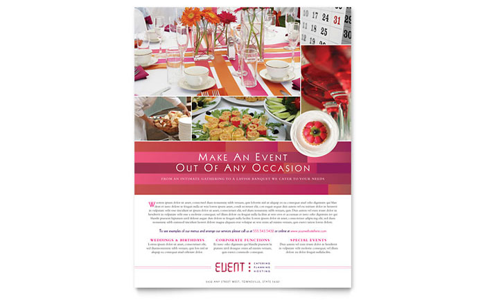 Corporate Event Planner & Caterer Flyer Template Download - Word & Publisher - Microsoft Office