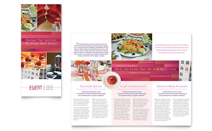 Corporate Event Planner  Caterer Tri Fold Brochure Template  Word