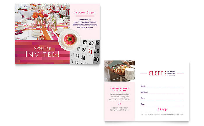 Corporate Event Planner Caterer Invitation Template Word