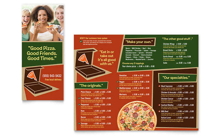 Pizza Pizzeria Restaurant Take-out Brochure Template - Word & Publisher
