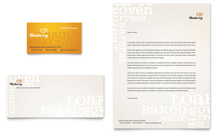 Artisan Bakery Business Card & Letterhead Template - Word & Publisher