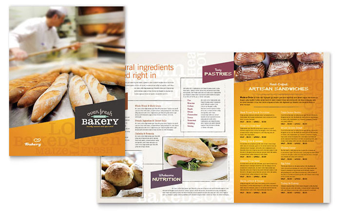 Artisan bakery menu template word publisher for Menu brochure template word