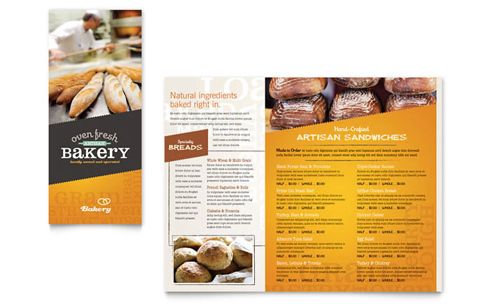 Artisan Bakery Takeout Brochure Template Word Publisher - Bakery flyer templates free