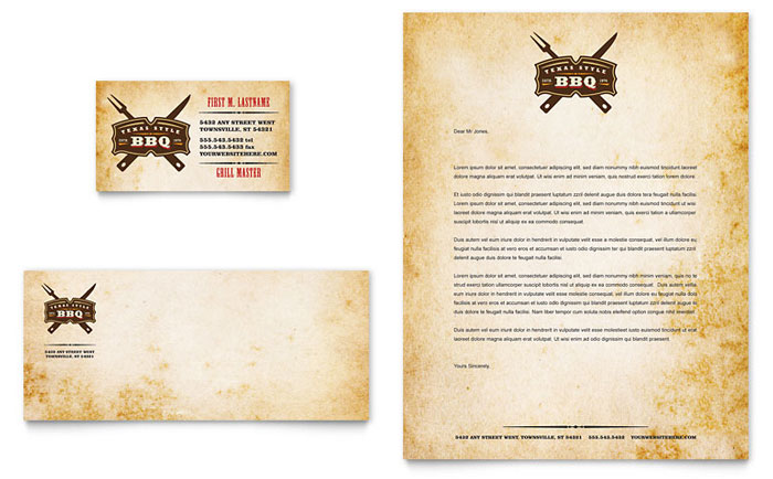 Steakhouse BBQ Restaurant Business Card & Letterhead Template - Word & Publisher