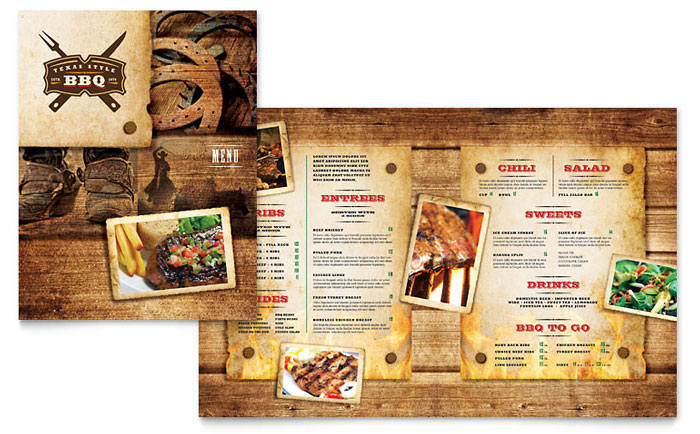 Steakhouse bbq restaurant menu template word publisher for Resturant menu templates