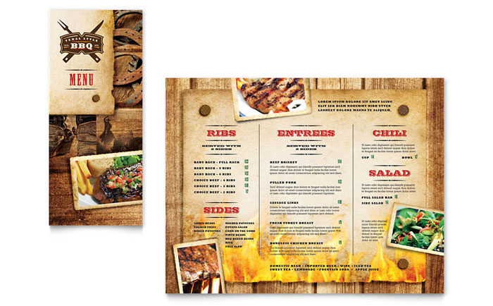Steakhouse bbq restaurant take out brochure template for Microsoft publisher menu templates free