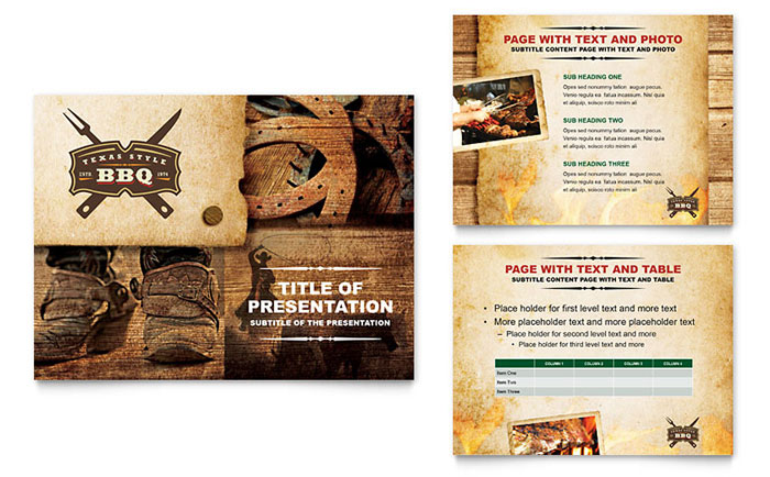 Steakhouse BBQ Restaurant PowerPoint Presentation Template - PowerPoint