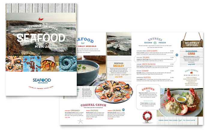 Seafood Restaurant Menu Template  Word  Publisher