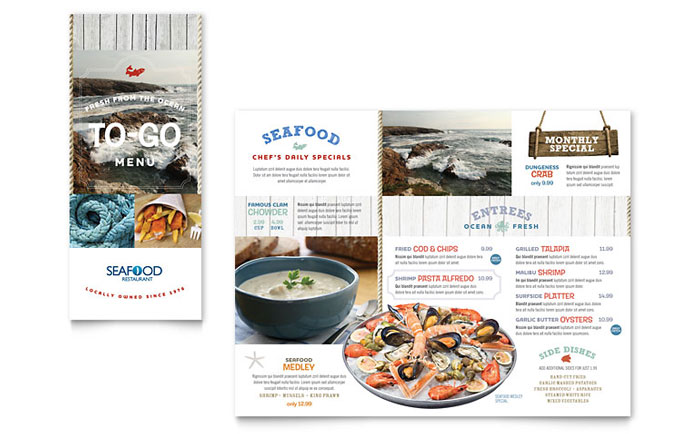 seafood restaurant take-out brochure template