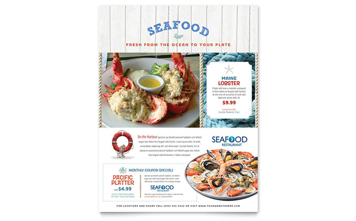 Seafood Restaurant Flyer Template Download - Word & Publisher - Microsoft Office