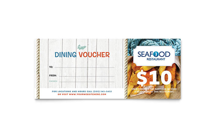 Seafood Restaurant Gift Certificate Template - Word & Publisher
