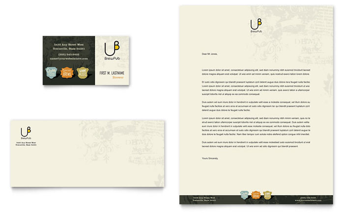 Brewery & Brew Pub Business Card & Letterhead Template - Word & Publisher