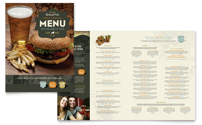 Brewery brew pub menu template word publisher for Menu brochure template word