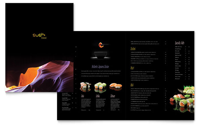 sushi restaurant menu template word publisher