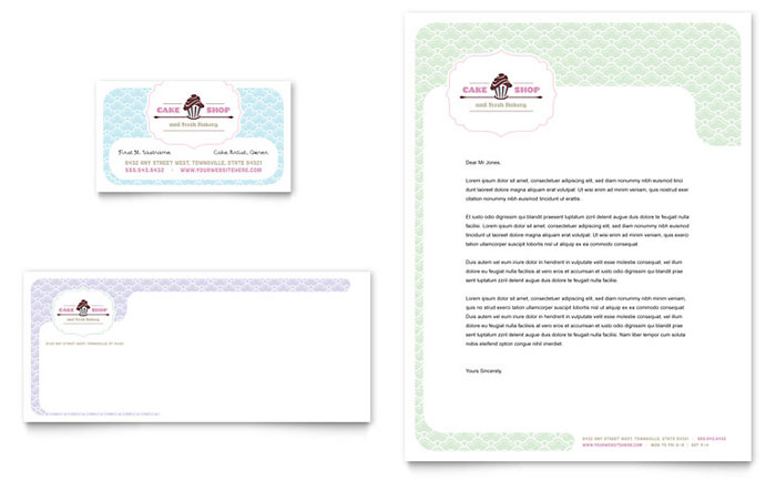 Bakery  Cupcake Shop Business Card  Letterhead Template  Word