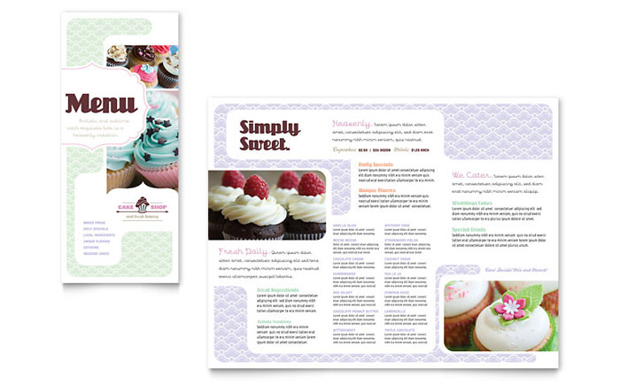Bakery cupcake shop menu template word publisher for Menu brochure template word