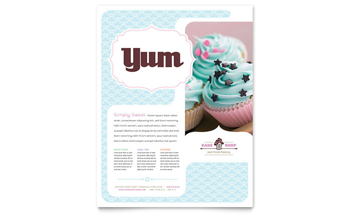 Bakery & Cupcake Shop Flyer Template Download - Word & Publisher - Microsoft Office