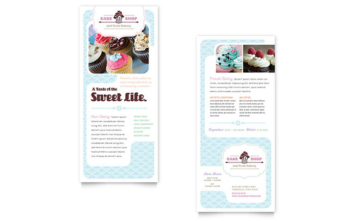 Bakery  Cupcake Shop Rack Card Template  Word  Publisher