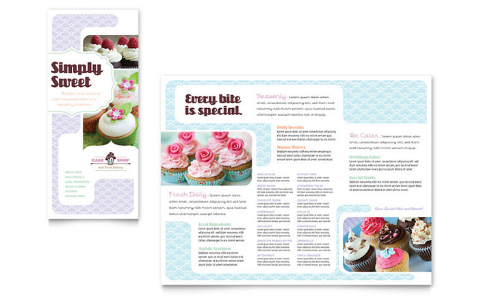 bakery cupcake shop tri fold brochure template word publisher
