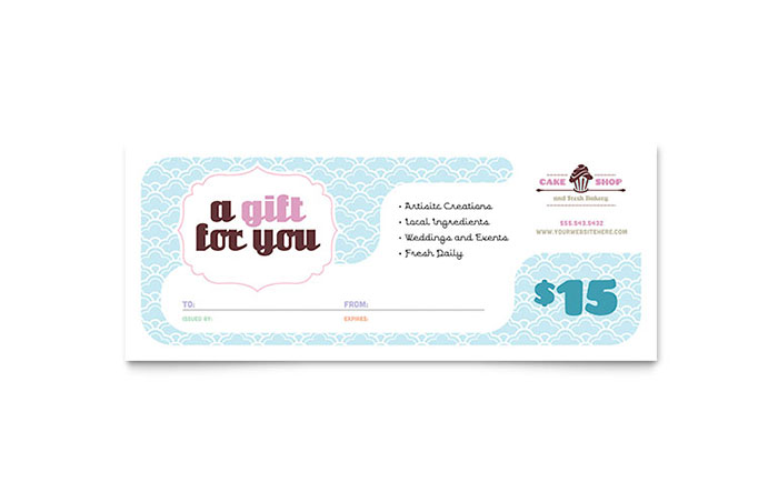 bakery cupcake shop gift certificate template word publisher