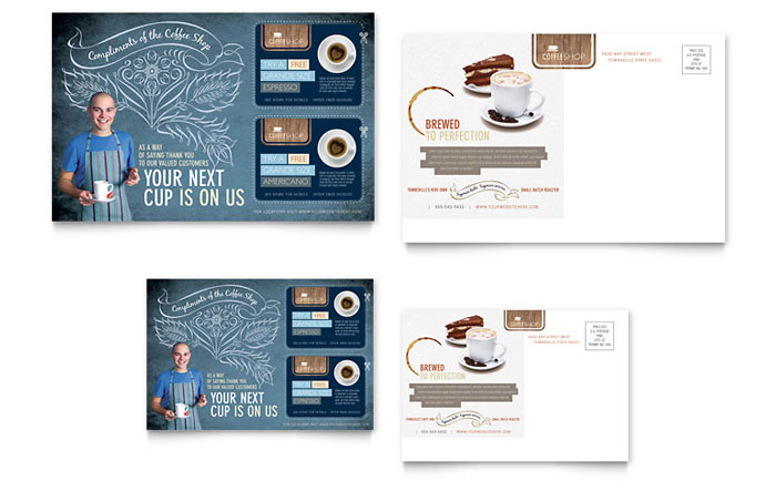 Coffee Shop Postcard Template Download - Word & Publisher - Microsoft Office