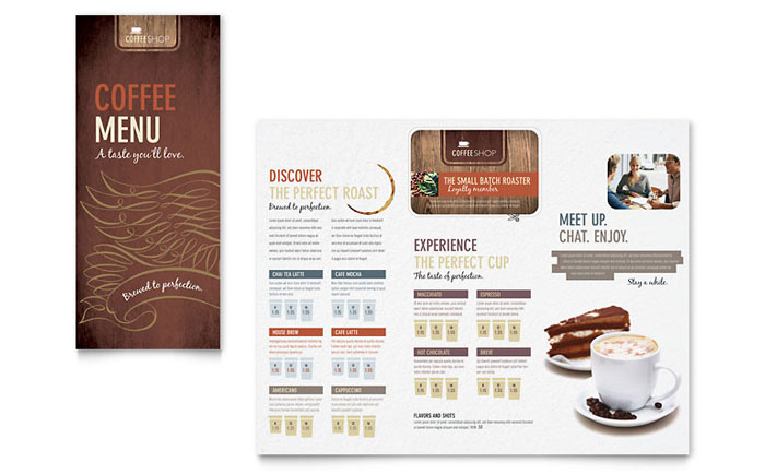 Coffee shop menu template word publisher for Menu brochure template word