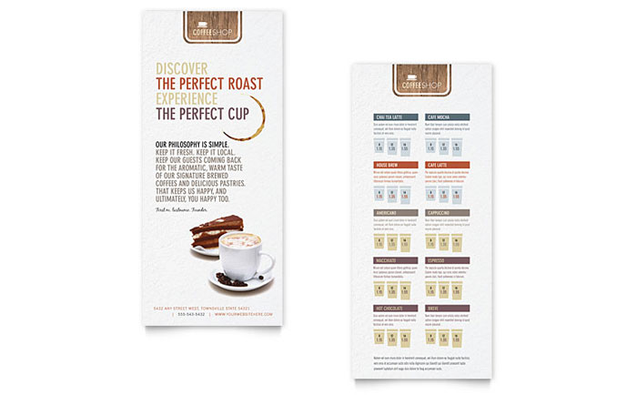 coffee shop rack card template word publisher. Black Bedroom Furniture Sets. Home Design Ideas