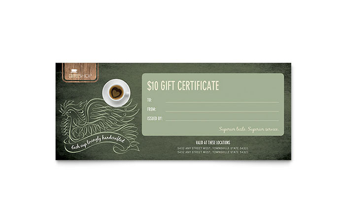 Coffee Shop Gift Certificate Template - Word & Publisher