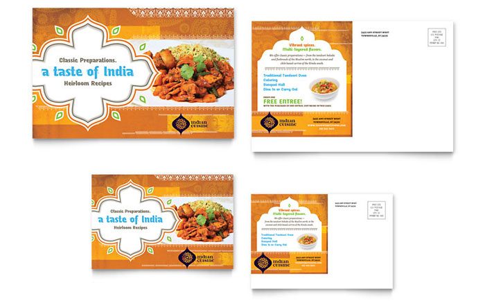 Indian Restaurant Postcard Template - Word & Publisher
