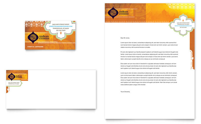 indian restaurant business card  u0026 letterhead template