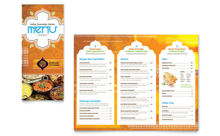 Indian Restaurant Take Out Brochure Template Word Publisher