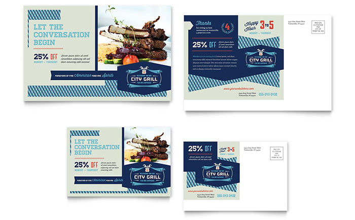 Fine Dining Restaurant Postcard Template - Word & Publisher