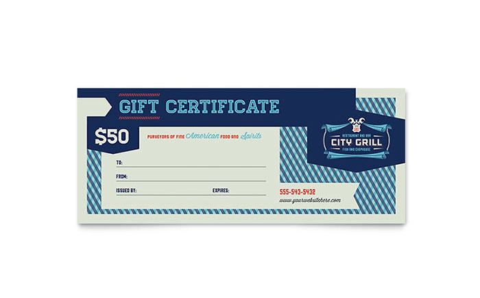 Fine Dining Restaurant Gift Certificate Template - Word & Publisher