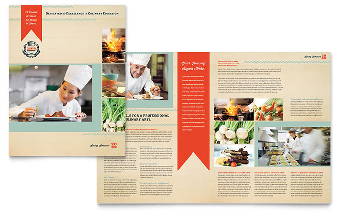 Culinary School Brochure Template  Word  Publisher